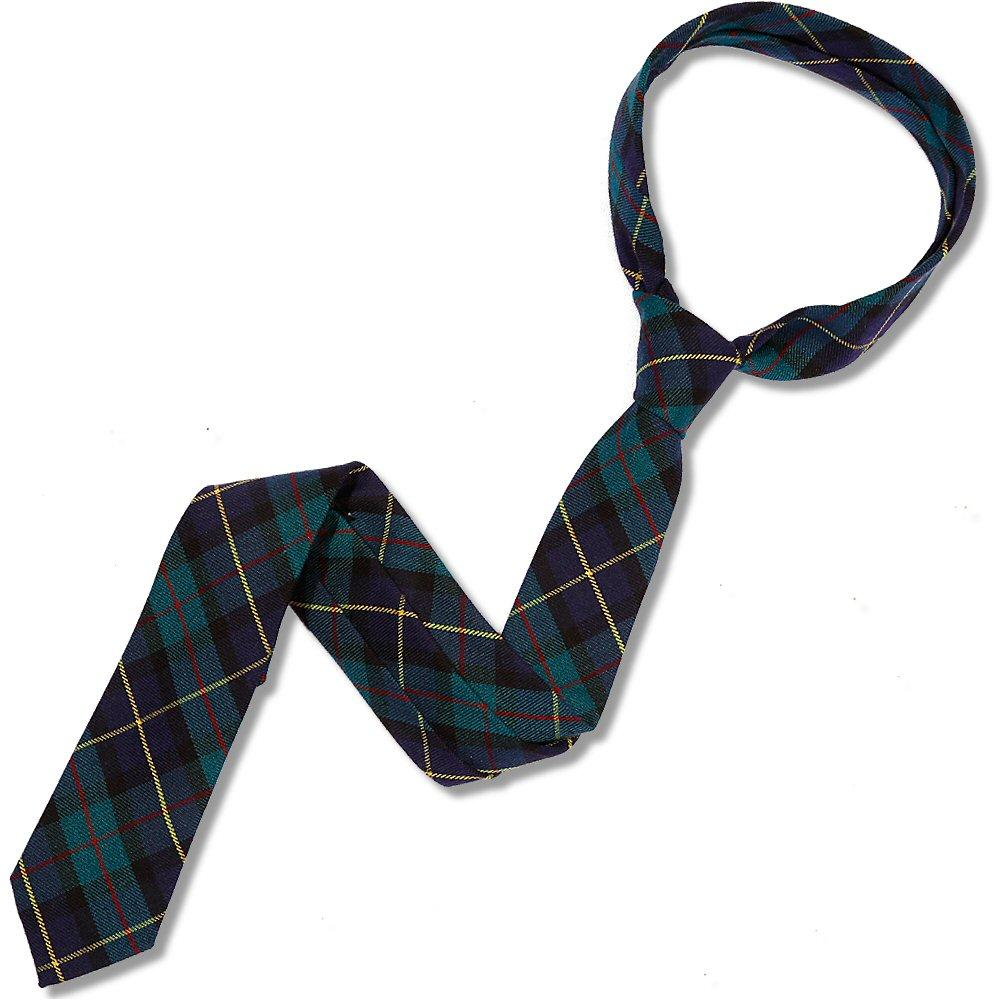 Knightsbridge Retro Mod 60's Ivy League Woven Wool Tartan Slim Pointed Tie Green