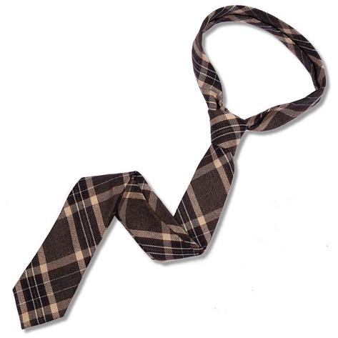 Knightsbridge Retro Mod 60's Ivy League Woven Wool Tartan Slim Pointed Tie Taupe Thumbnail 1