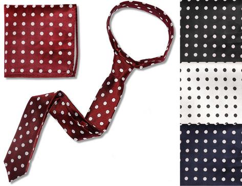 Knightsbridge Retro Mod 60's Matching Polka Dot Silk Slim Tie and Pocket Square