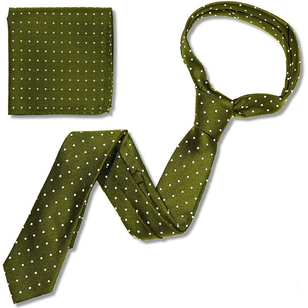 Knightsbridge Retro Mod 60's Matching Micro Dot Silk Slim Tie and Pocket Square