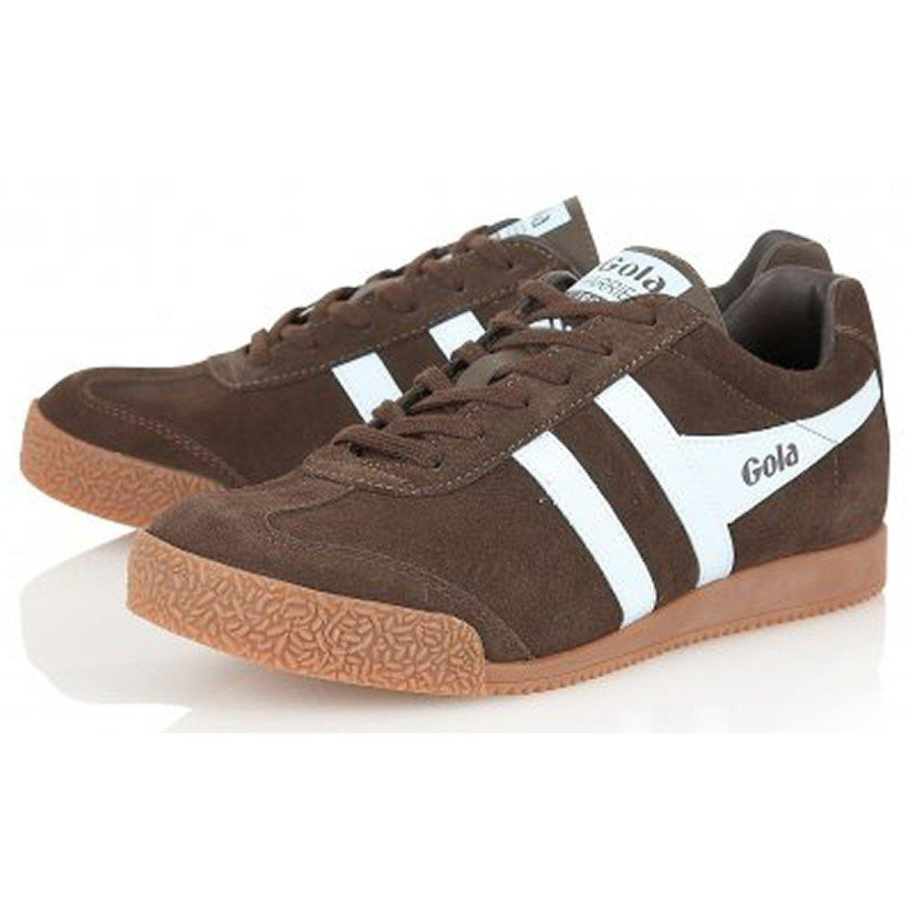 Gola Harrier Classic Suede Trainer Dark Brown Pale Blue