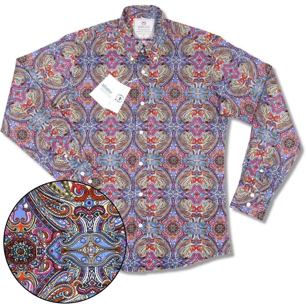 Relco Platinum Collection Satin Finish Paisley Long Sleeve Shirt Multi