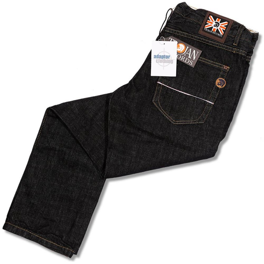 9a76b236145 Trojan Records Straight Leg Dark Rinse Blue Black Denim Jeans ...