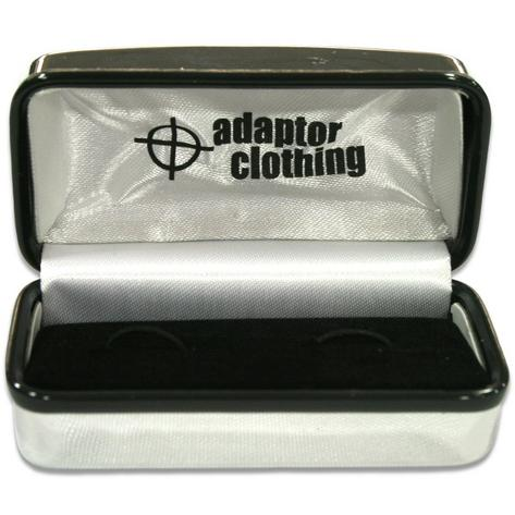 Adaptor Clothing White Round Fibre Optic Design Rhodium Plated Cufflink Thumbnail 2