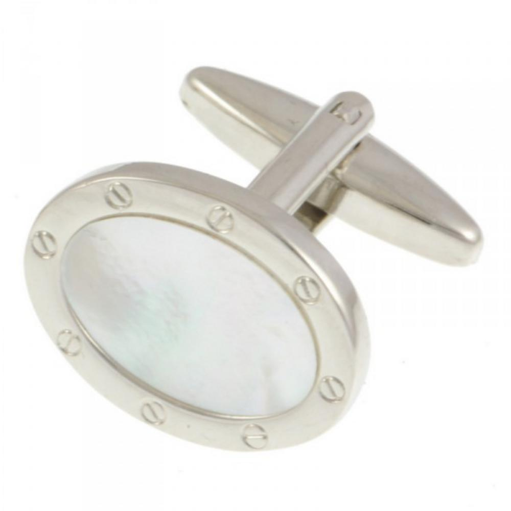 Adaptor Clothing Mother Of Pearl Oval Screw Rim Rhodium Plated Cufflink