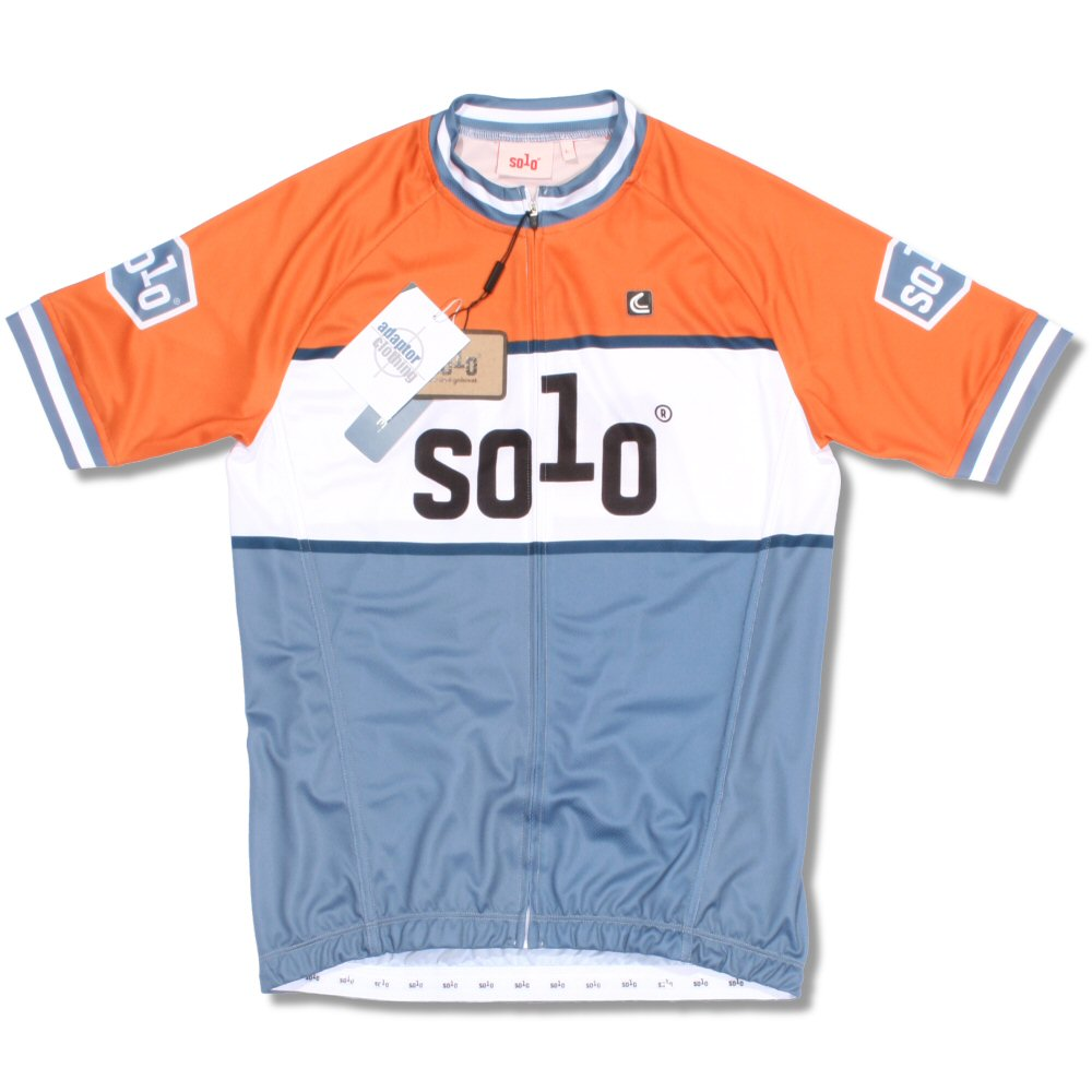 Solo Zip Through Mod Retro Cycling Jersey Top Orange and Blue Thumbnail 1  ... bf5959b1d