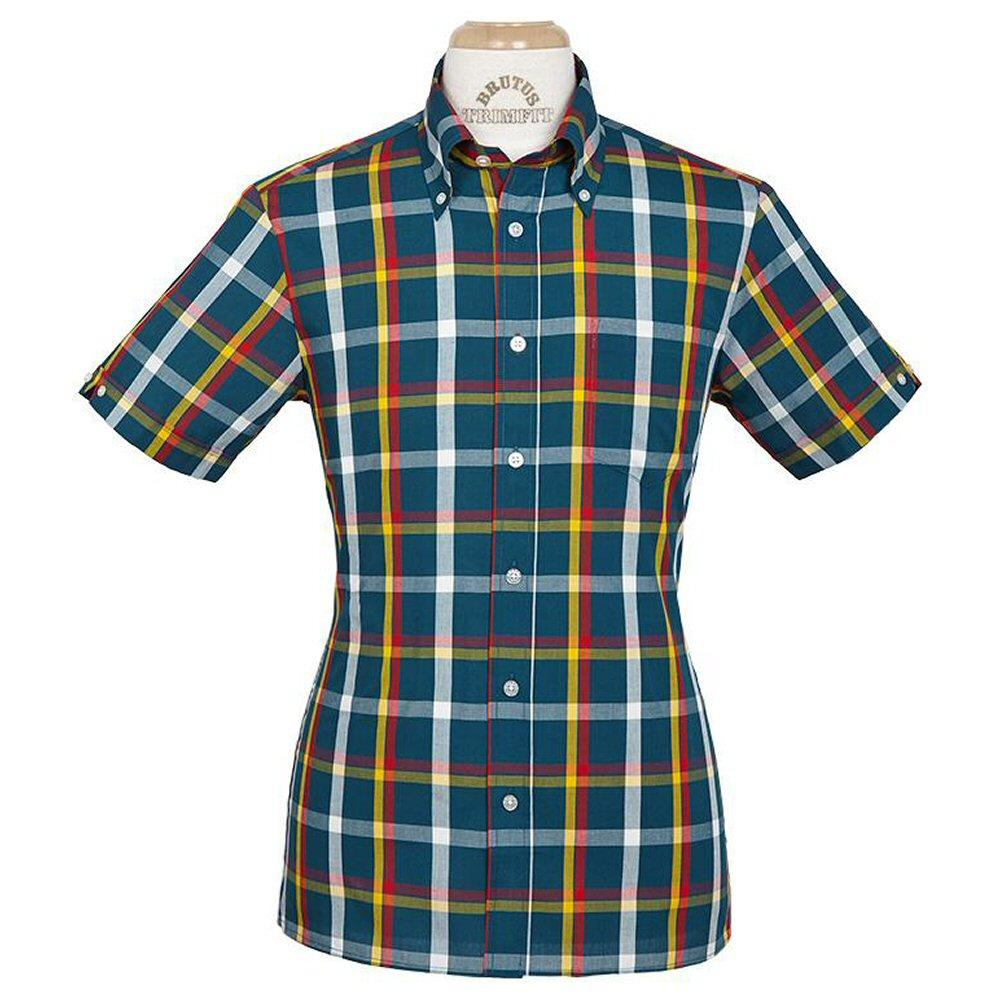 Brutus GREATFIT Mod Skin Retro Check Shirt Teal Red Yellow