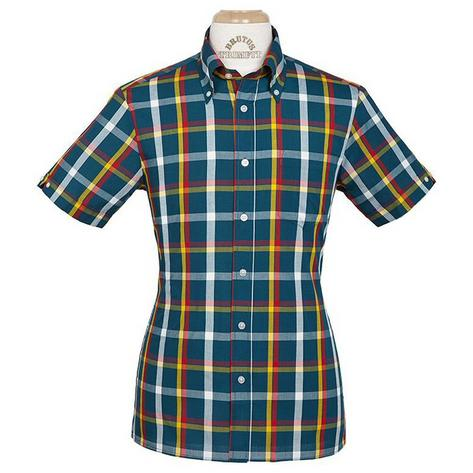 Brutus GREATFIT Mod Skin Retro Check Shirt Teal Red Yellow Thumbnail 1