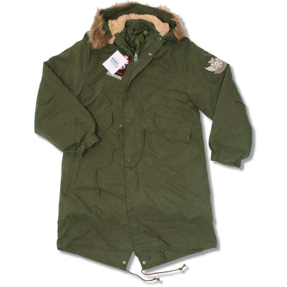 fdce8826a Warrior Mod 60's Retro Fur Hood M65 Fishtail Parka Coat Khaki Green