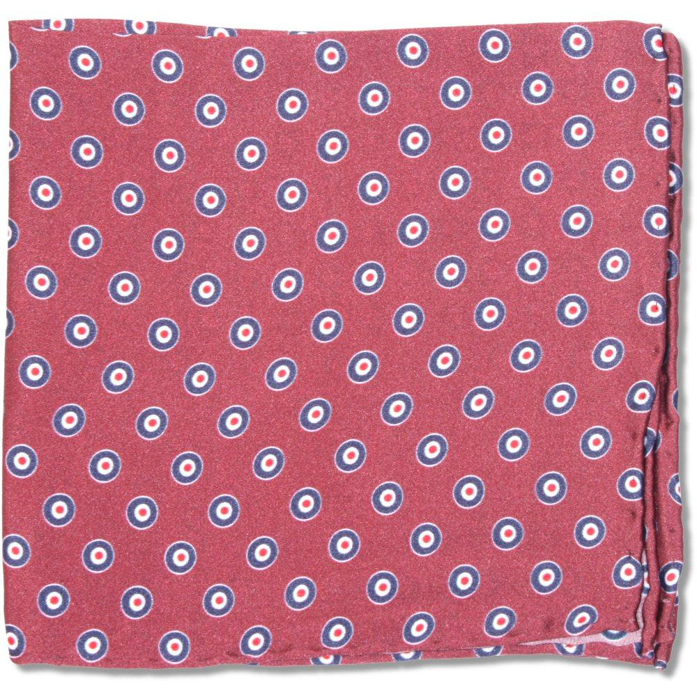 Tootal Clothing Mod Retro 60's Target Silk Pocket Square Burgundy