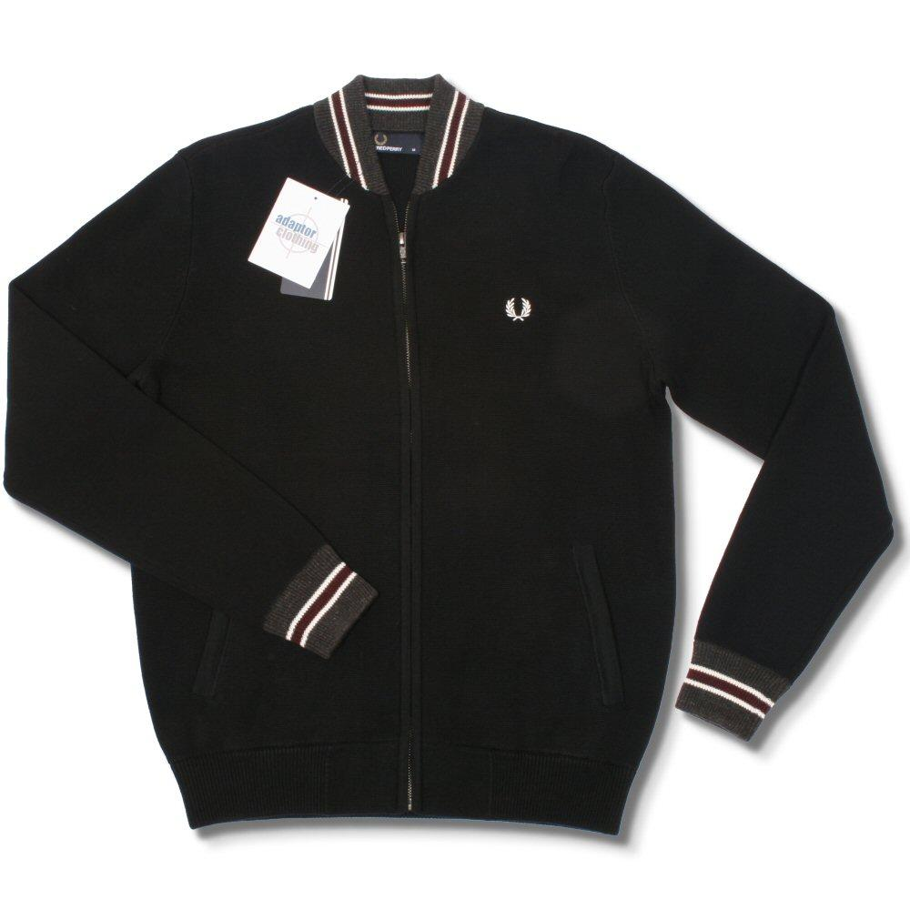b2175f740 Fred Perry Mod 60's Laurel Wreath Tipped Knit Monkey Bomber Jacket Black