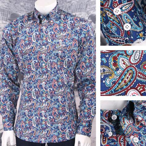 Relco Platinum Collection Satin Finish Paisley Long Sleeve Shirt Navy Thumbnail 1