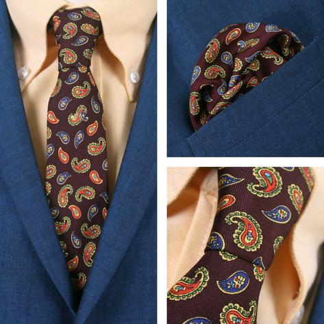 Knightsbridge Retro Mod 60's Matching Paisley Silk Slim Tie and Pocket Square Ma Thumbnail 1