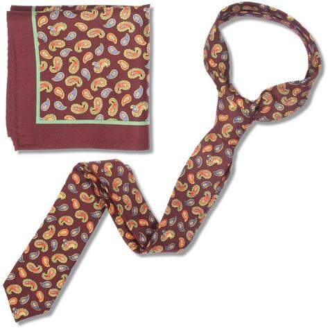 Knightsbridge Retro Mod 60's Matching Paisley Silk Slim Tie and Pocket Square Ma