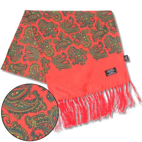 Authentic Tootal Mod 60's Retro Paisley Fringed 100% Silk Scarf Bright Red / Gre Thumbnail 2