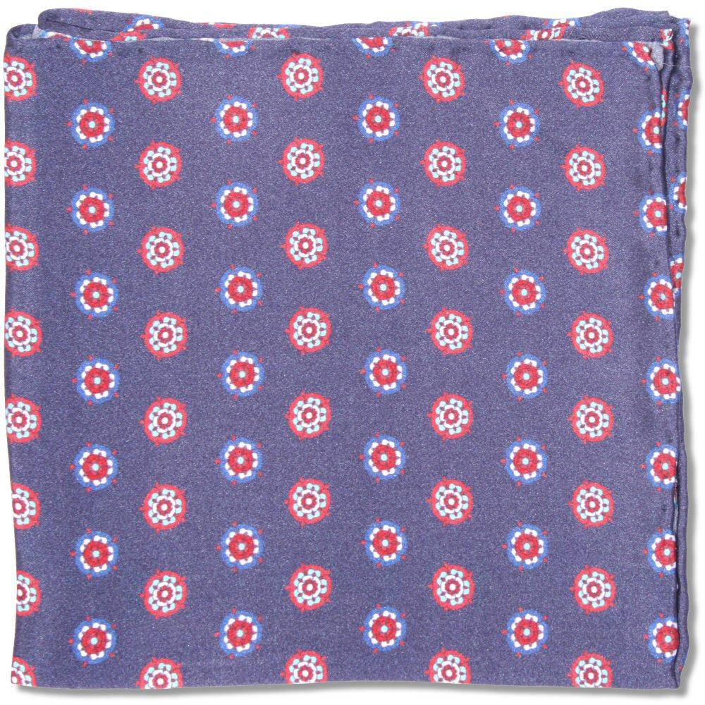 Tootal Clothing Mod Retro 60's Rosette Silk Pocket Square Navy