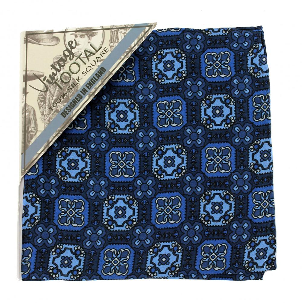 Tootal Clothing Mod Retro Geo Squares Silk Pocket Square Blue