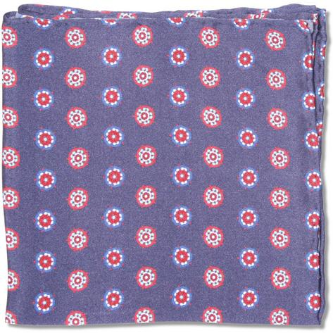 Tootal Clothing Mod Retro 60's Rosette Silk Pocket Square Navy Thumbnail 1