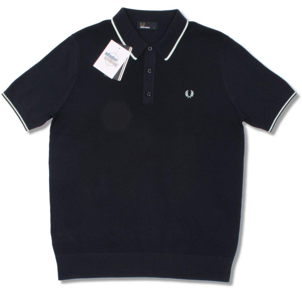 f4f5d9b5728b Fred Perry Mod 60's Laurel Wreath Waffle Knit Tipped Polo Shirt Navy |  Adaptor Clothing