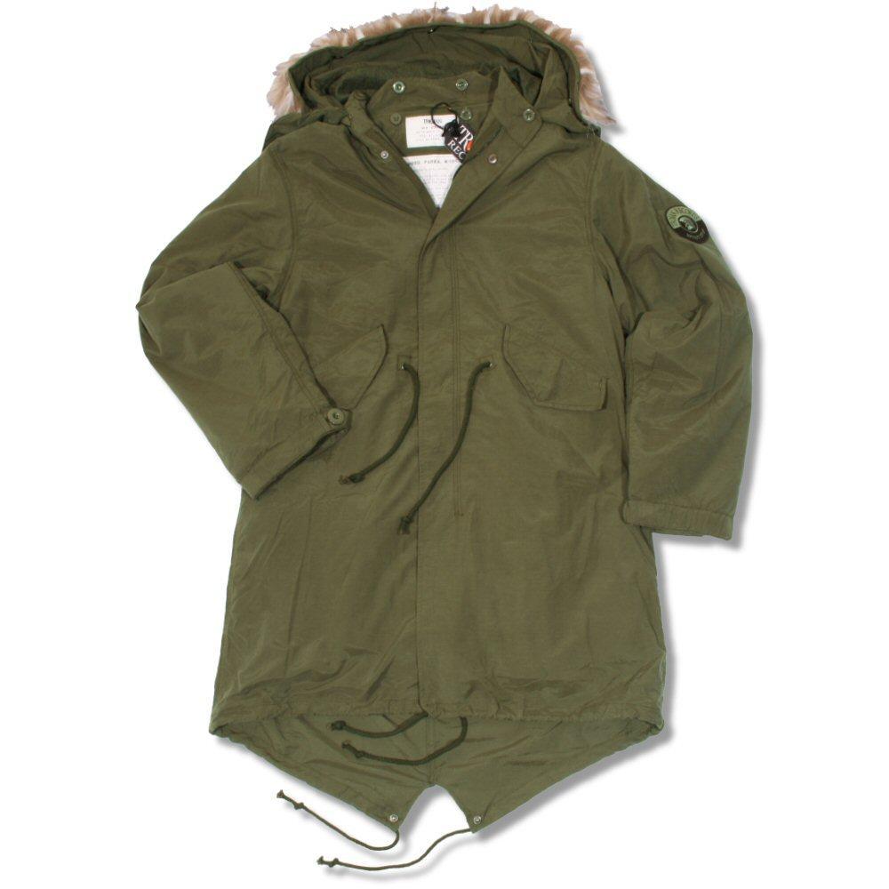 93c741dd0 Trojan Mod 60's Retro M51 Fur Hood Fishtail Parka Coat Khaki Green