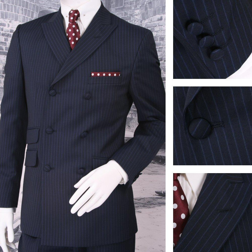 Adaptor Clothing Mod 60's Retro Double Breasted Slim Pinstripe Suit Navy