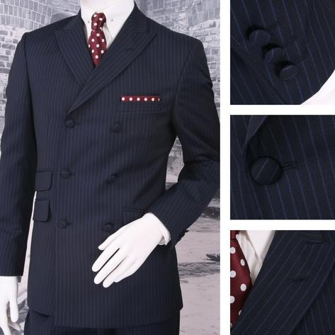 Adaptor Clothing Mod 60's Retro Double Breasted Slim Pinstripe Suit Navy Thumbnail 1