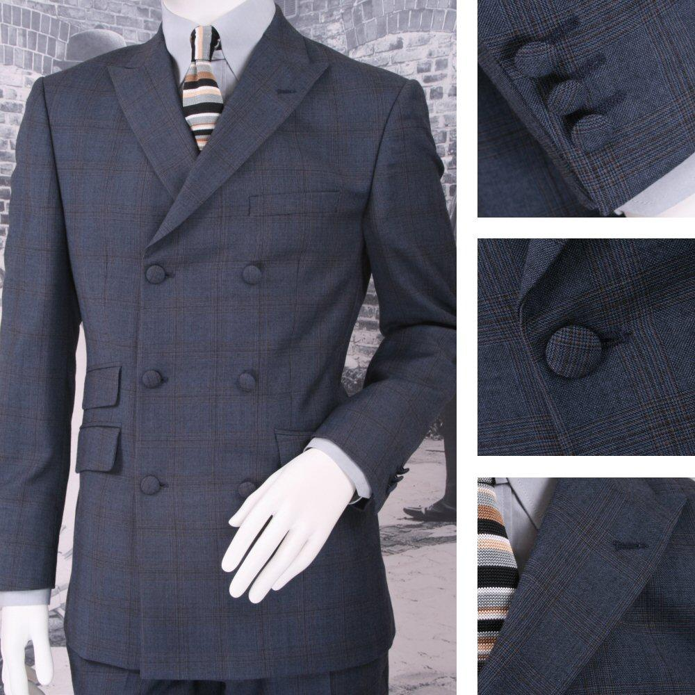 Adaptor Clothing Mod 60's Retro Double Breasted Slim Check Suit Blue
