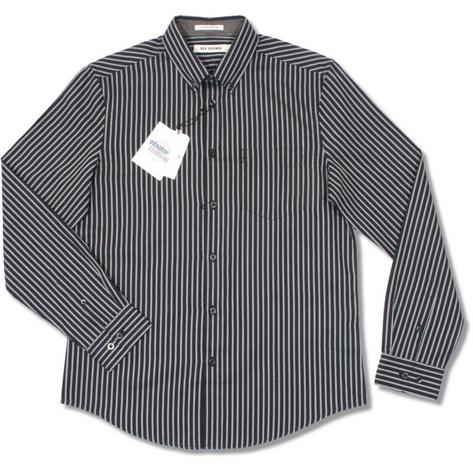 Ben Sherman Oxford Cotton Button Down Pocket Tag L/S Stripe Smart Shirt Thumbnail 3