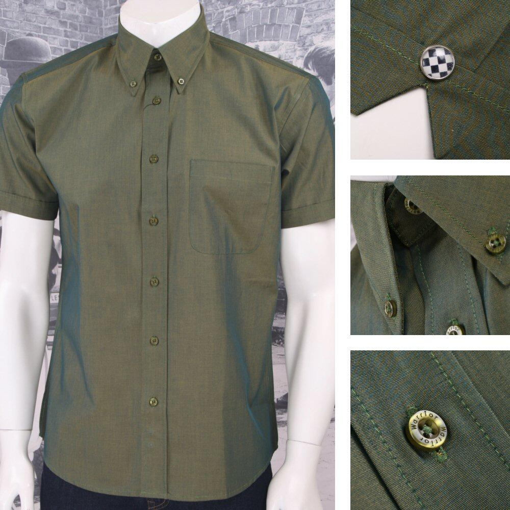 SPECIAL OFFER Warrior Button Down 2 Tone Tonic S/S Shirt Green