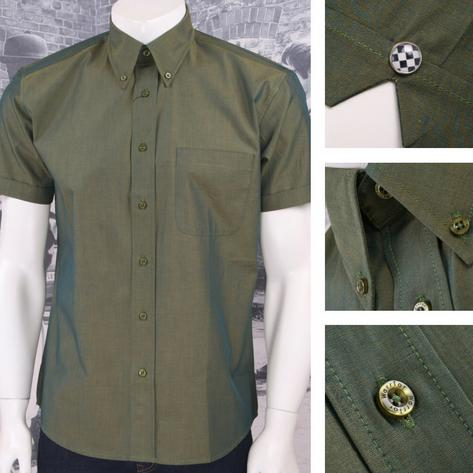 SPECIAL OFFER Warrior Button Down 2 Tone Tonic S/S Shirt Green Thumbnail 1