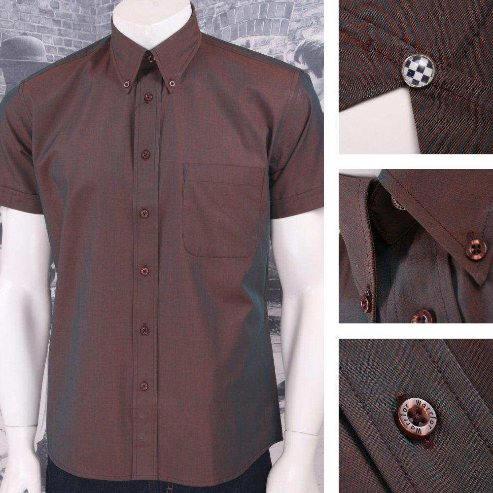 SPECIAL OFFER Warrior Button Down 2 Tone Tonic S/S Shirt Copper