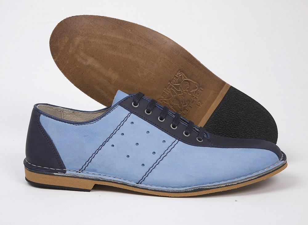 Delicious Junction Mod Retro Bowling Shoe Nubuck Leather Sky Blue and Navy