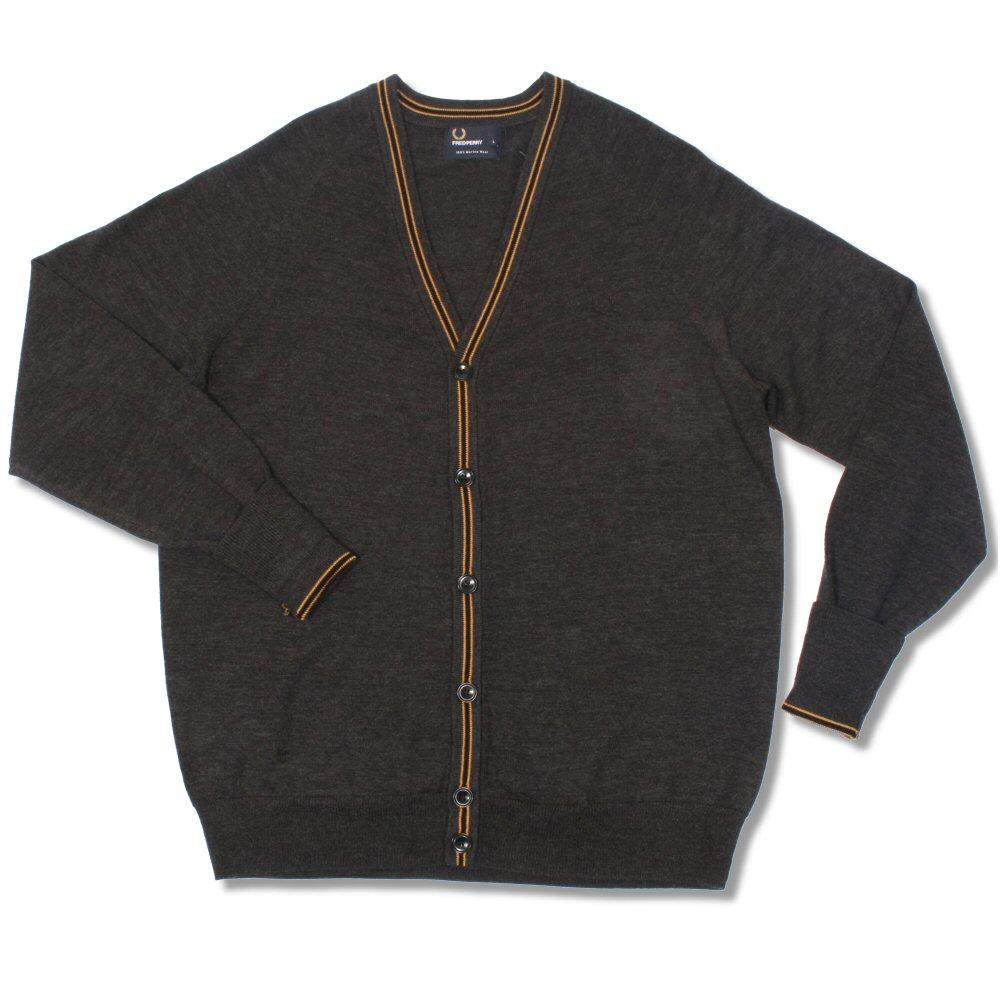 87b2b68e3 Fred Perry Mod 60 s Classic Laurel Wreath Merino Wool Tipped Knit Cardigan  Jumpe Thumbnail 1