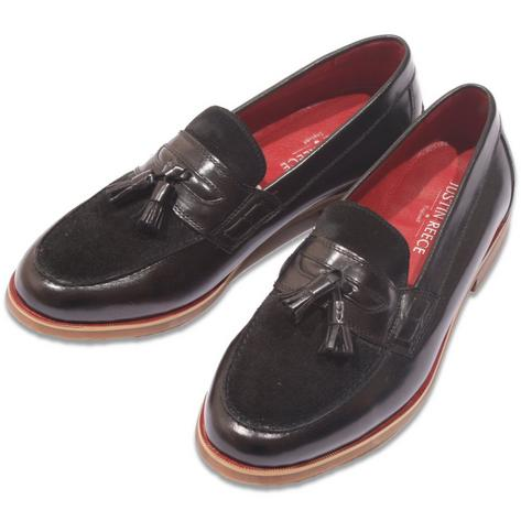 Justin Reece Suede and Leather Tassel Loafer Black Thumbnail 1