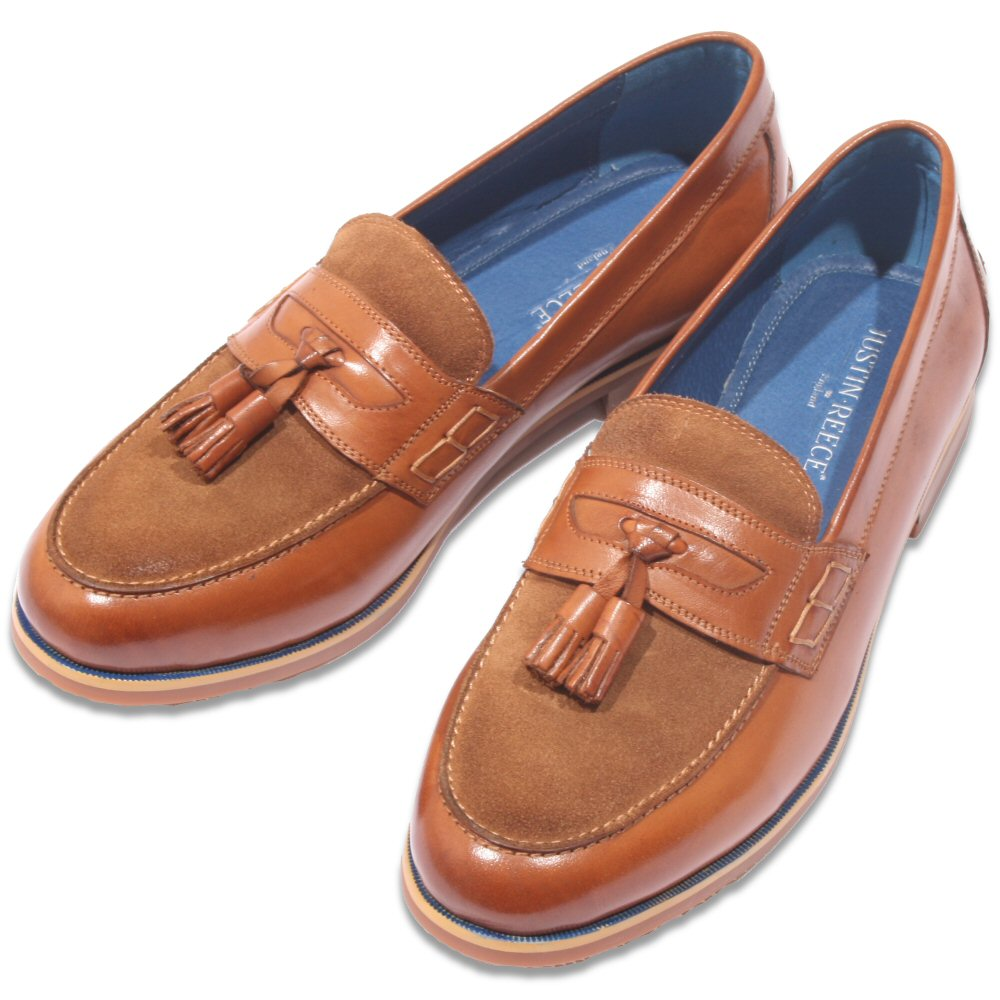 570eec6595b9 Justin Reece Suede and Leather Tassel Loafer Tan Thumbnail 1