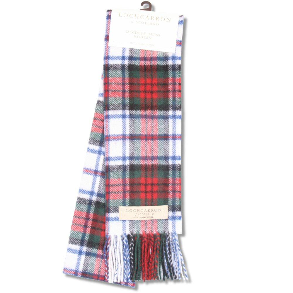 Lochcarron Brushwool Long Macduff Dress Mod Scarf White / Red