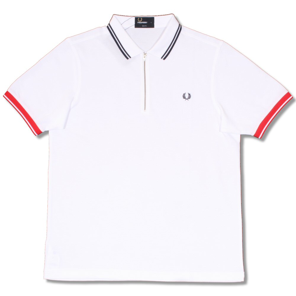 2c56df2ae Fred Perry Mod 60's Classic Laurel Wreath Zip Knit Pique Polo Shirt White  Thumbnail 1
