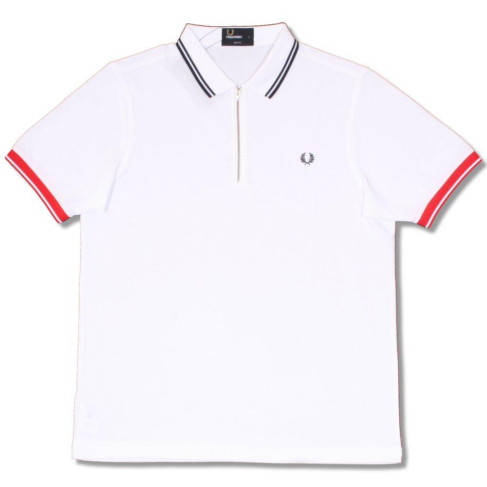 b1ac0086 Fred Perry Mod 60's Classic Laurel Wreath Zip Knit Pique Polo Shirt White