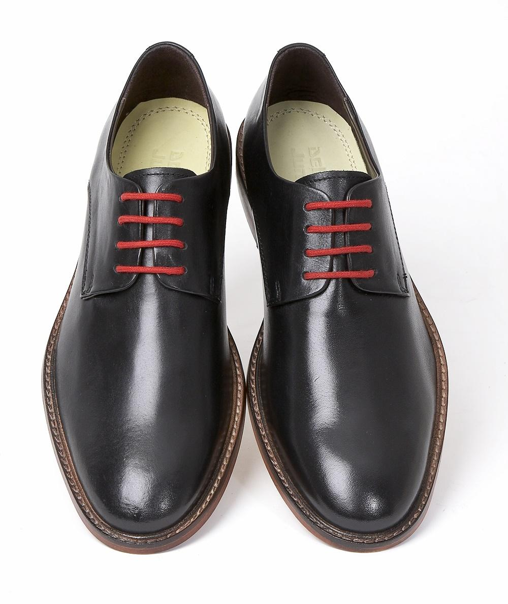 Delicious Junction Mod Plain Derby 4 Hole Lace Up Shoe Black Leather