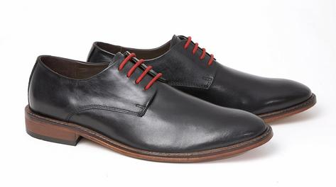 Delicious Junction Mod Plain Derby 4 Hole Lace Up Shoe Black Leather Thumbnail 2