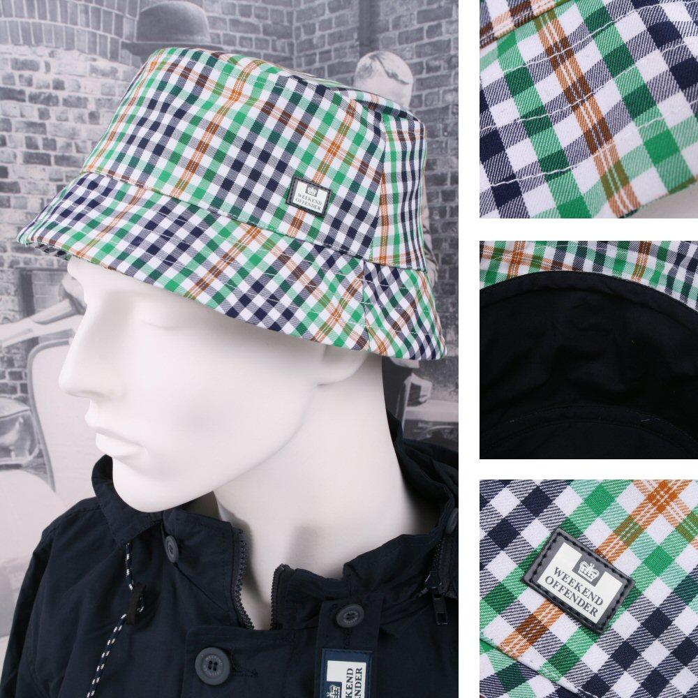 Weekend Offender 100% Cotton Check Style Bucket Hat One Size Green