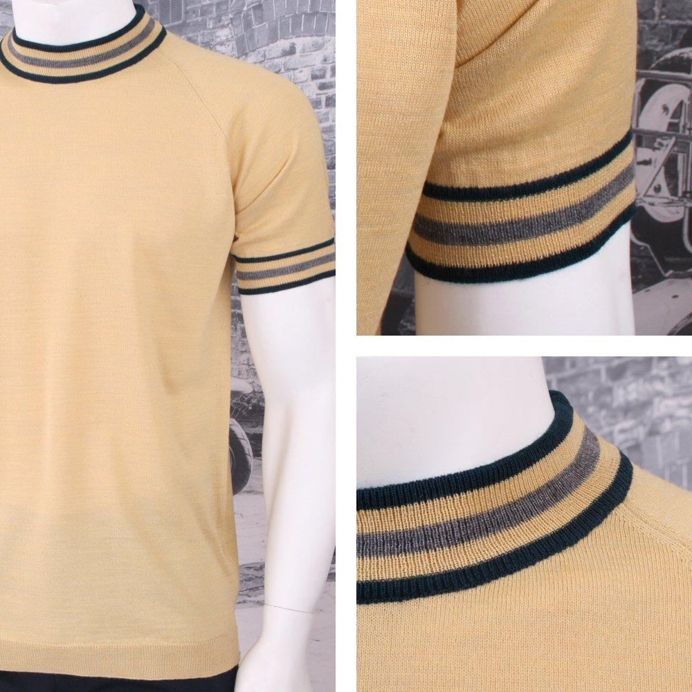 Adaptor Clothing Retro Mod Made in Italy Merino Wool S/S Tipped Sports Top (7 Co
