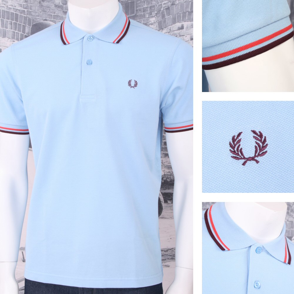 2439c5a4 Fred Perry Mod 60's Laurel Wreath Pique Knit Tipped Polo Shirt Sky Blue  Thumbnail 1