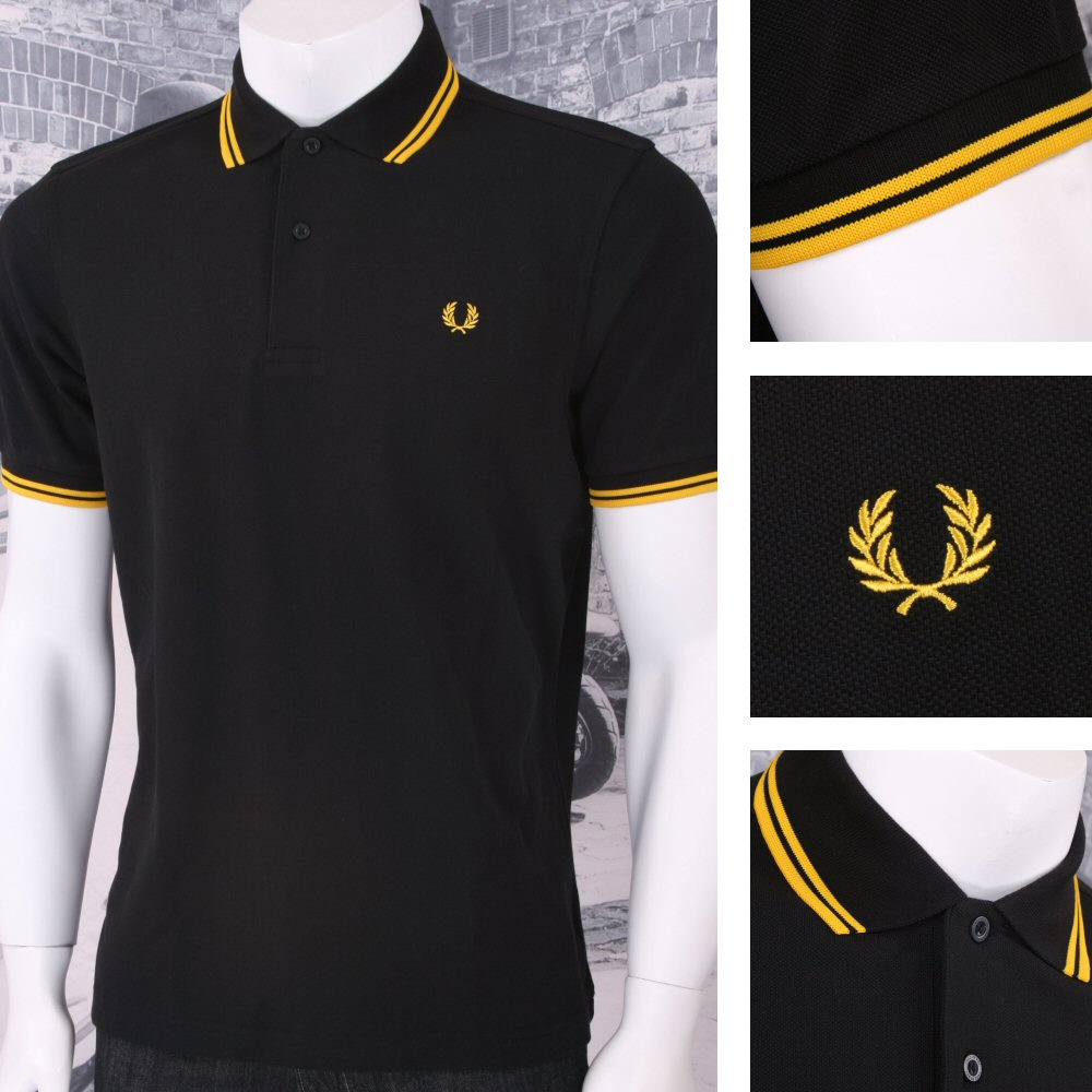 d94f994fd Fred Perry Mod 60 s Laurel Wreath Pique Knit Tipped Polo Shirt Black  Thumbnail 1