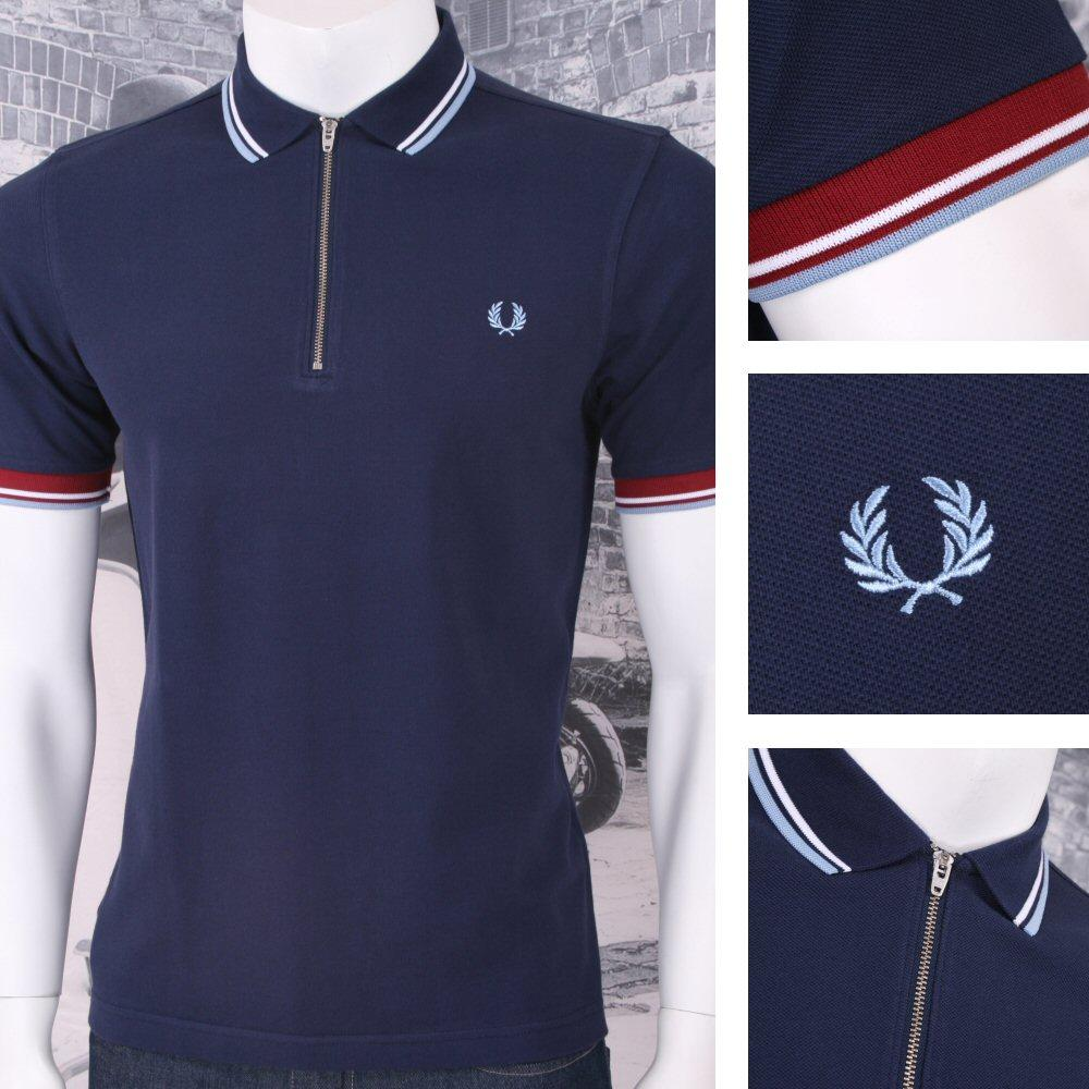 54be2a96 Fred Perry Mod 60's Classic Laurel Wreath Zip Knit Pique Polo Shirt Navy |  Adaptor Clothing