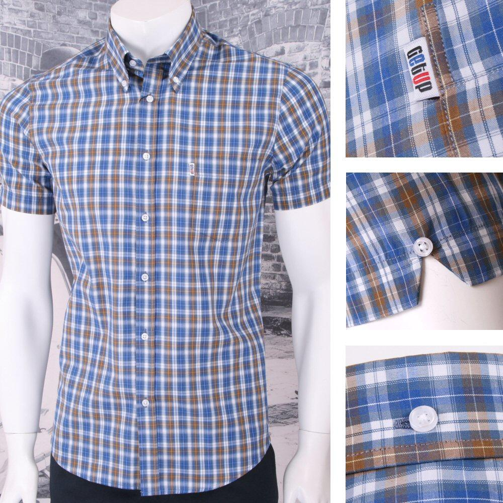 Get up slim fit button down pocket tag s s smart style for Slim fit check shirt