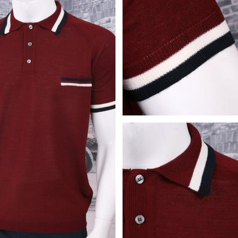 Adaptor Clothing Retro Mod Made in Italy Merino Wool S/S Tipped POLOS Top (5 Col Thumbnail 3