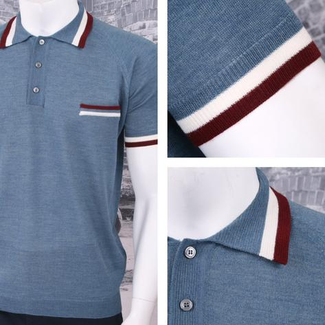 Adaptor Clothing Retro Mod Made in Italy Merino Wool S/S Tipped POLOS Top (5 Col Thumbnail 4