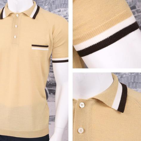 Adaptor Clothing Retro Mod Made in Italy Merino Wool S/S Tipped POLOS Top (5 Col Thumbnail 5