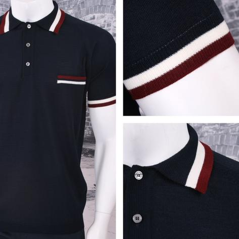 Adaptor Clothing Retro Mod Made in Italy Merino Wool S/S Tipped POLOS Top (5 Col Thumbnail 2